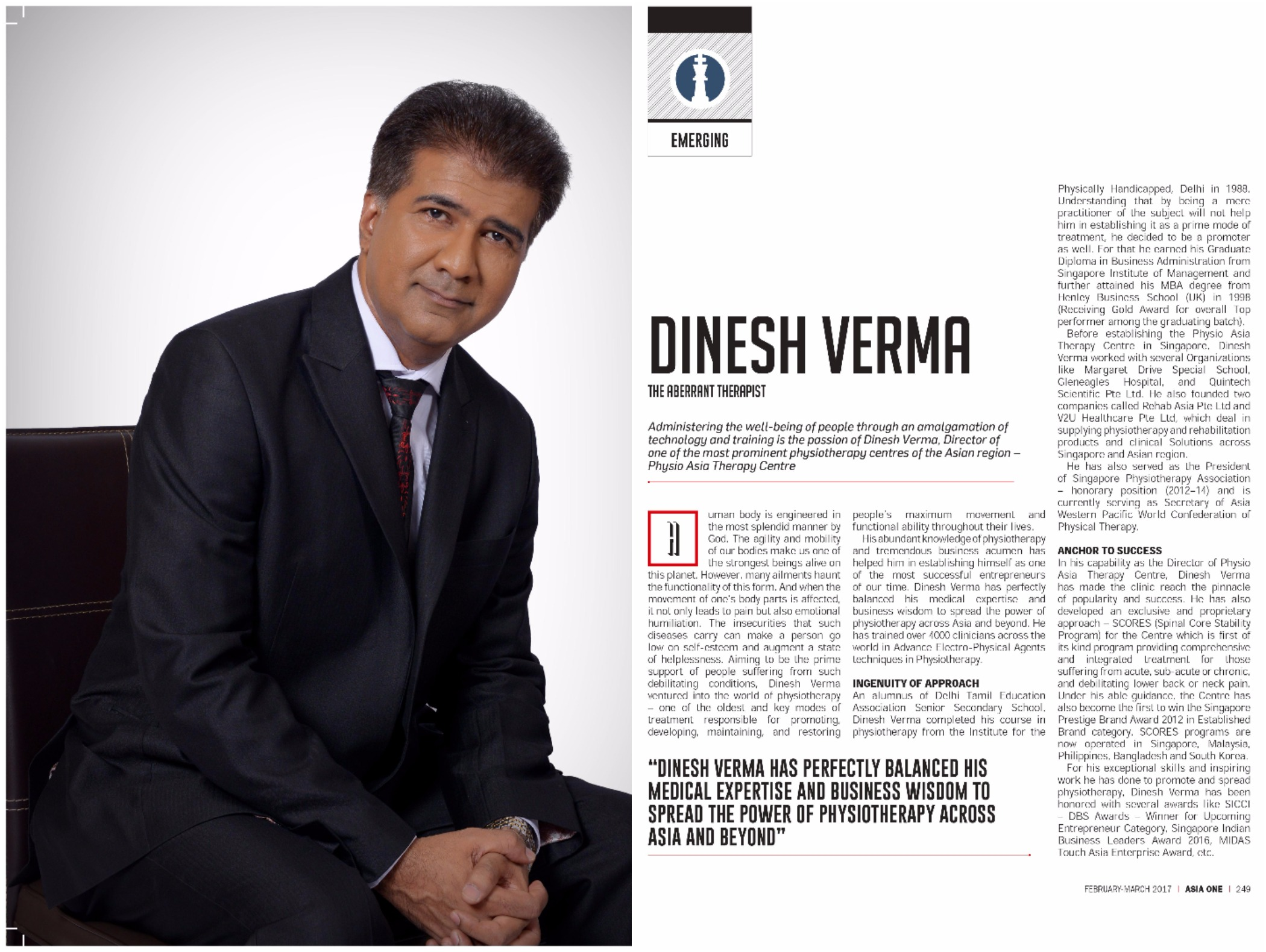 Dinesh Feature in ASIA ONE Magazine